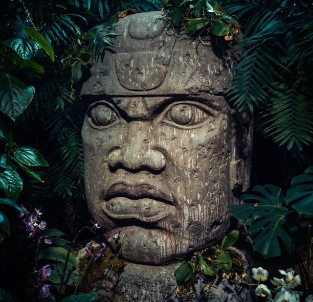 Olmec sculpture carved from stone. Big stone head statue in a jungle Olmec sculpture carved from stone. Big stone head statue in a jungle. carving craft product stock pictures, royalty-free photos & images