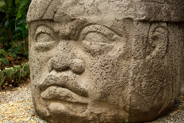 Olmec statue stock photo