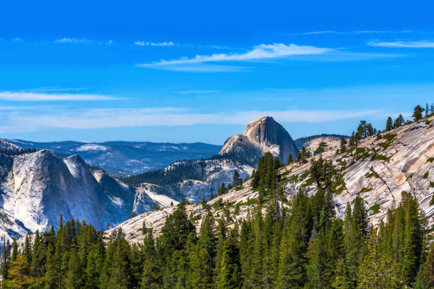 Olmsted Point Overlook at Half Dome in the Background of Yosemite National Park stock photo