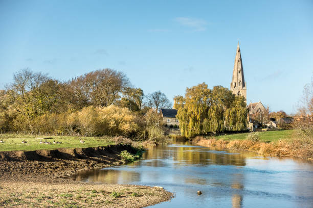Olney in Buckingahmshire Looking across thew Great Ouse river In the markwet town of Olney buckinghamshire stock pictures, royalty-free photos & images