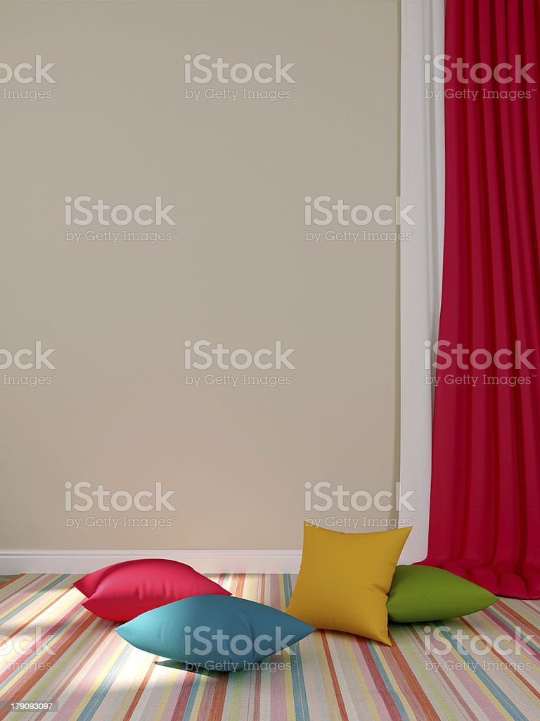 Сolorful cushions and curtains royalty-free stock photo