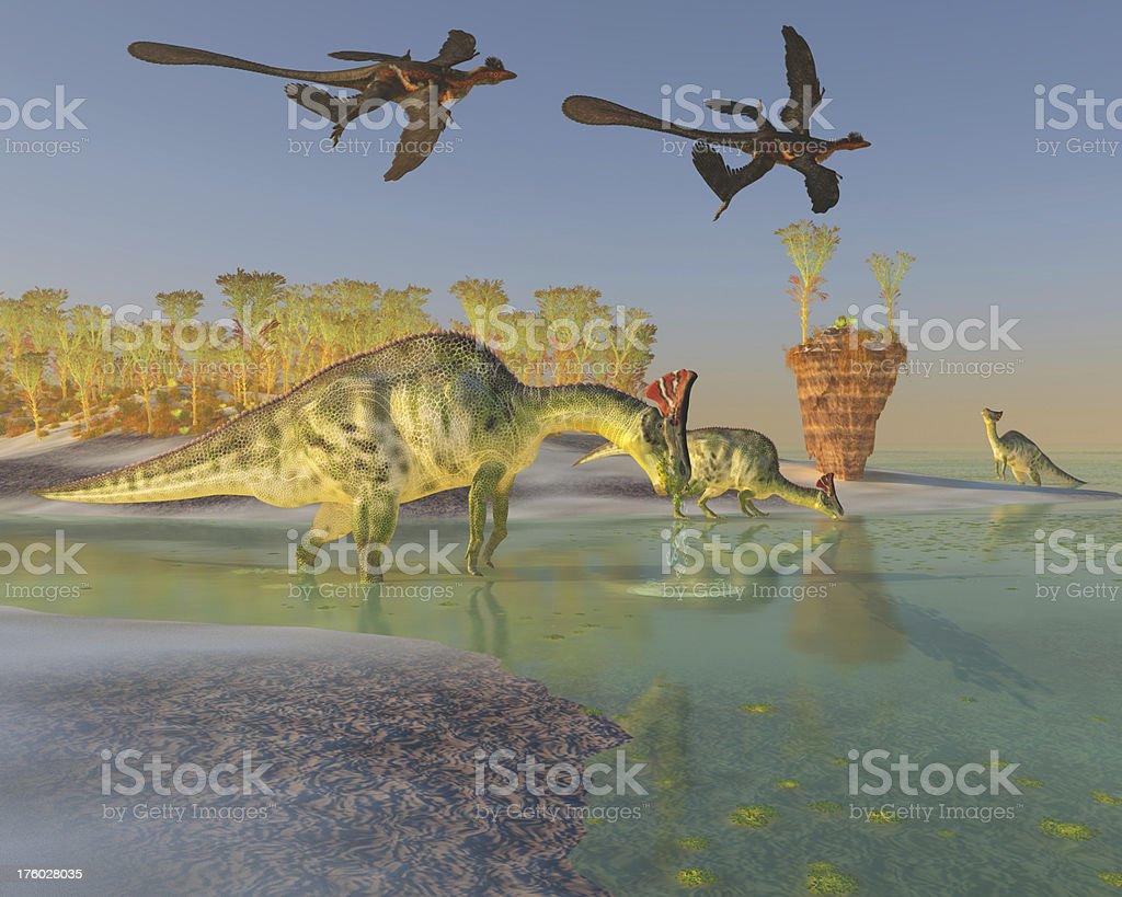 Olorotitan in Swamp stock photo
