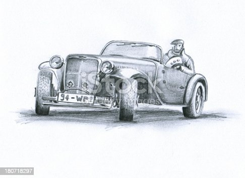 A man drives his nice oltimer.Hand drawing pencil sketch.Scan with Epson photoperfection.