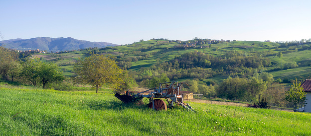 Oltrepo Pavese countryside panorama. Color image