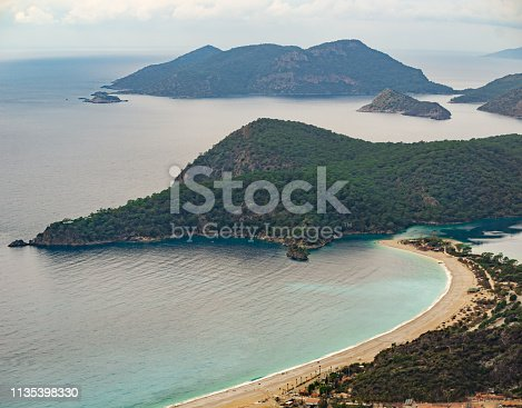 istock Oludeniz Bay view in Fethiye Town. Amazing landscape from Lycian way. Travel destination. Summer and holiday concept. Blue Lagoon. 1135398330