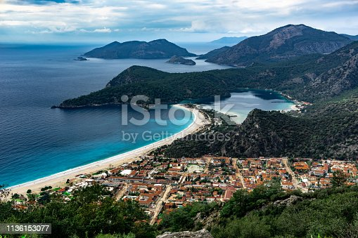 istock Oludeniz Bay view in Fethiye Town. Amazing landscape from Lycian way. Travel destination. Summer and holiday concept. Blue Lagoon. 1136153077