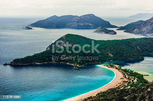 istock Oludeniz Bay view in Fethiye Town. Amazing landscape from Lycian way. Travel destination. Summer and holiday concept. Blue Lagoon detail. 1137814981