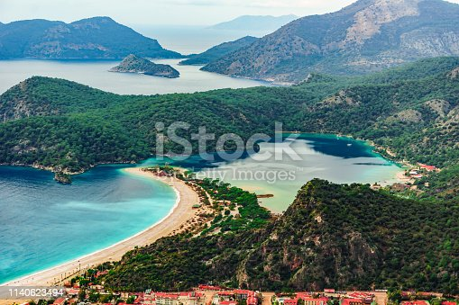 istock Oludeniz Bay view in Fethiye Town. Amazing landscape from Lycian way. Travel destination. Summer and holiday concept. Blue Lagoon 1140623494