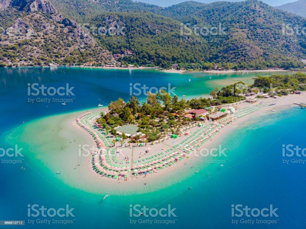 Oludeniz beach de Fethiye, Turquie. Plage. Photo aérienne. - Photo