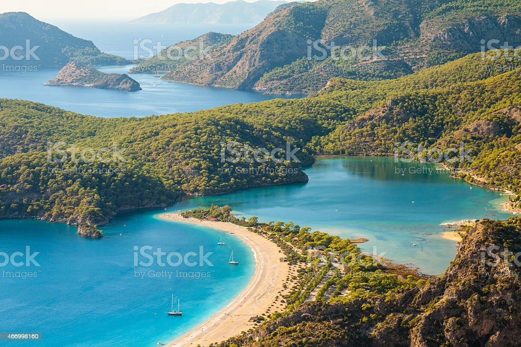 Oludeniz lagoon in sea landscape view of beach stock photo