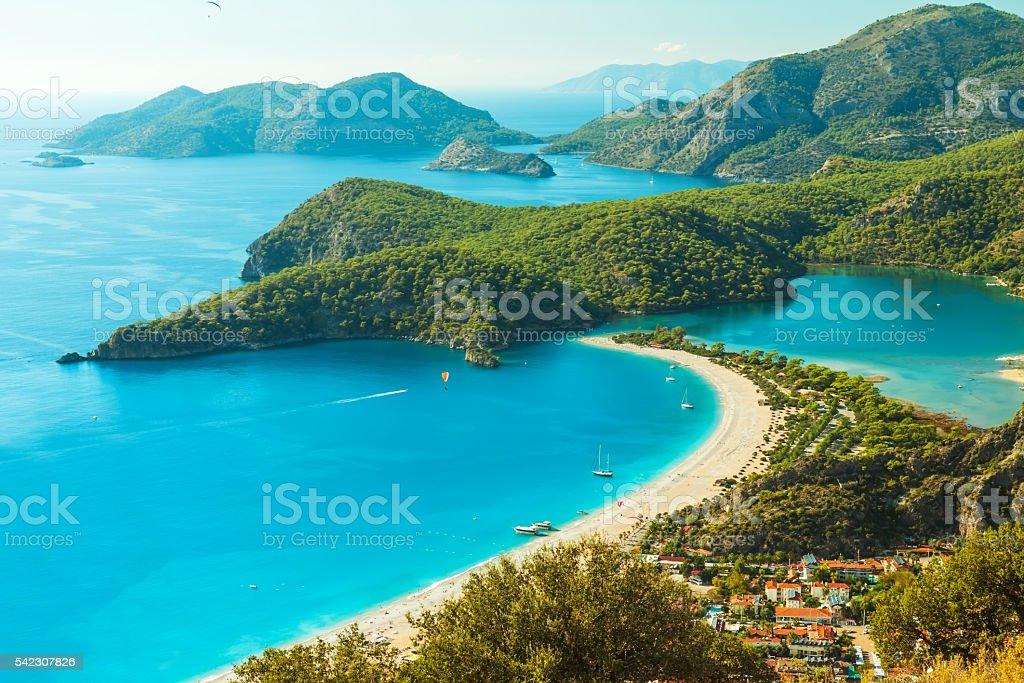 Oludeniz lagoon in sea landscape view of beach stock photo