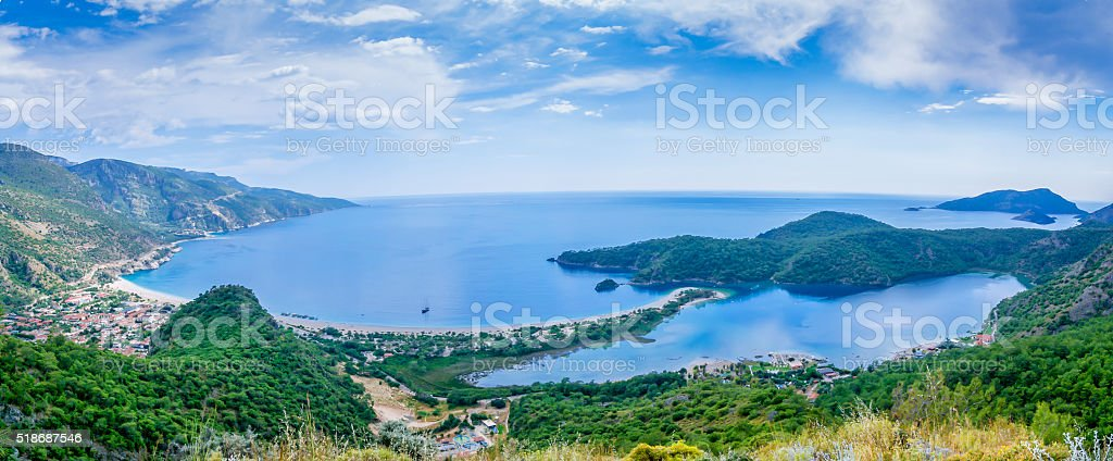 Oludeniz Panorama in fethiye stock photo