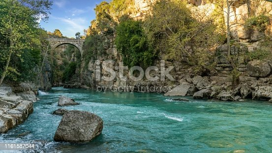 Antalya, Turkey - March 2019: Oluk Bridge across Kopru Irmagi creek in Koprulu Kanyon national park in Antalya Turkey.