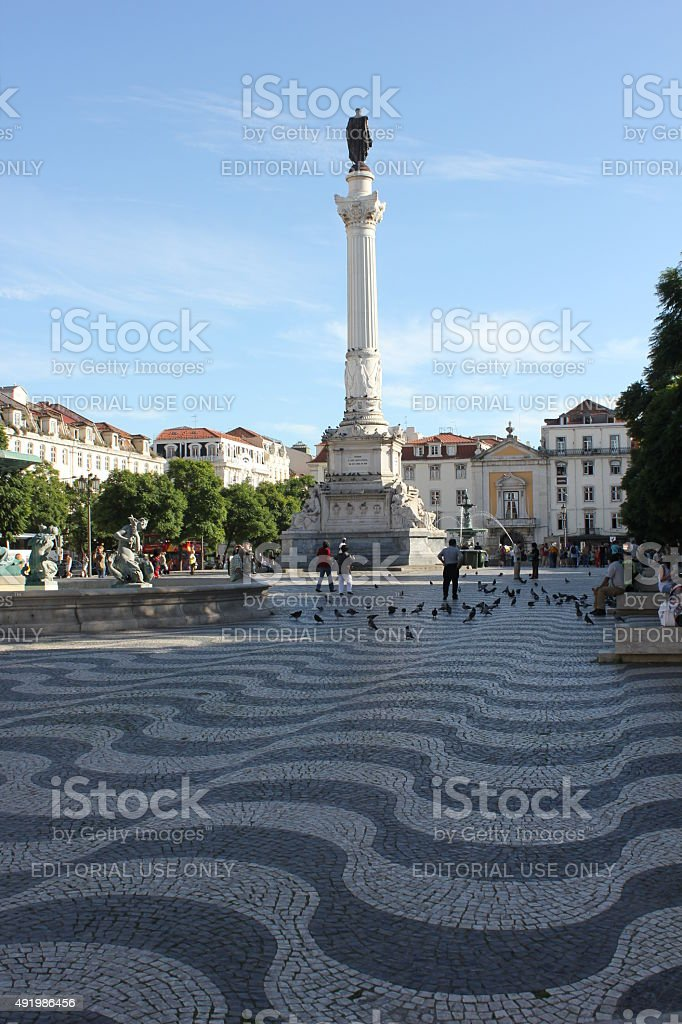 olumn of Pedro IV in Rossio Square in Lisbon stock photo