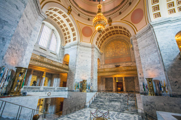 Olympia at Seattle Washington USA on July 5, 2018. Hall at the Washington State Capitol Olympia stock photo