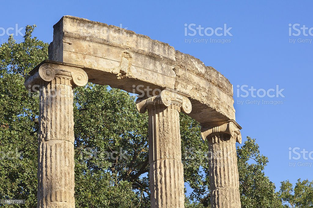 Olympia Greece Philippeion colonnade royalty-free stock photo