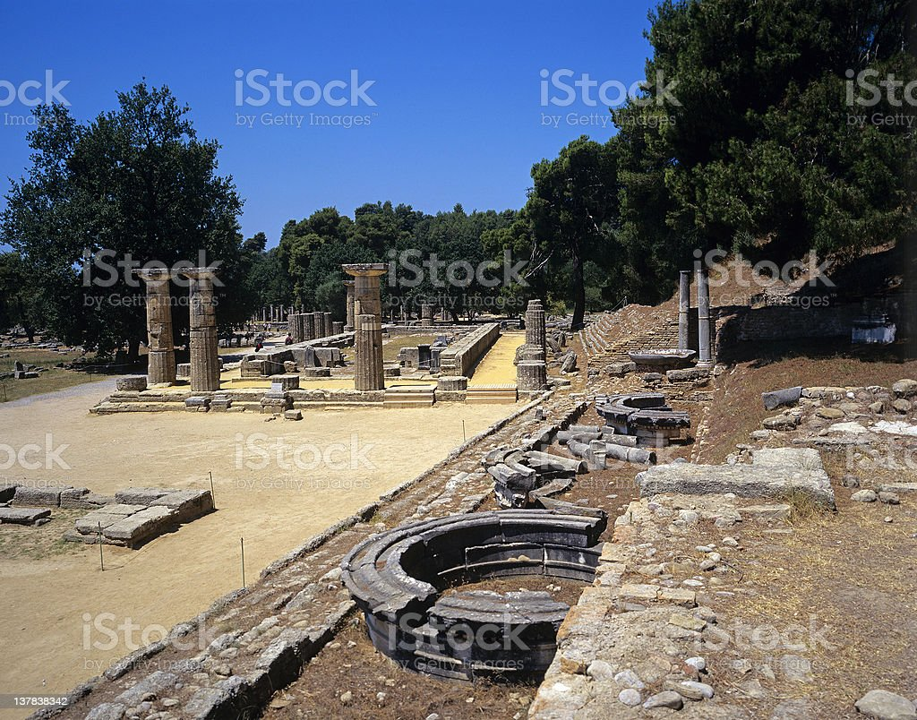 Olympia - Heraion temple stock photo