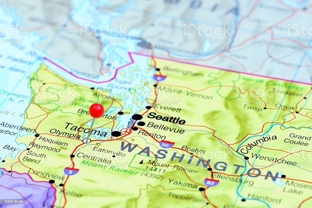 Olympia Pinned On A Map Of Usa stock photo iStock