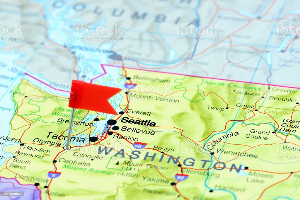 Olympia pinned on a map of USA stock photo