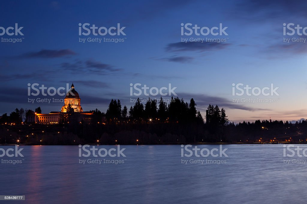 Olympia State Capitol at Dusk stock photo