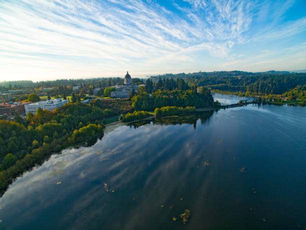 Olympia Washington State Capitol State Legislature Government Building and Lake Landscape stock photo