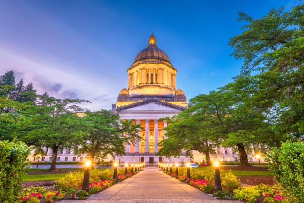 オリンピア、ワシントン州、米国の州議会議事堂 - 柱頭 ストックフォトと画像