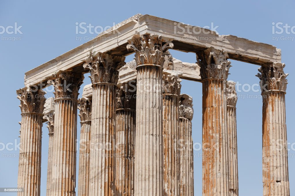 Olympian Zeus Temple Athens Greece stock photo