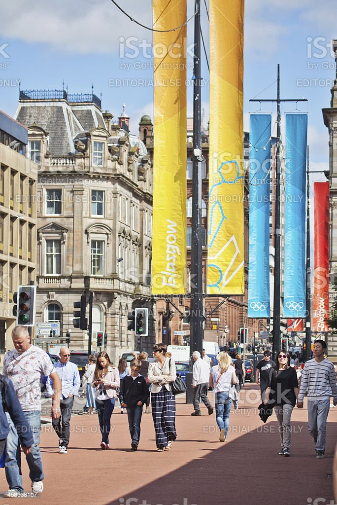 Olympic banners in Glasgow's George Square stock photo