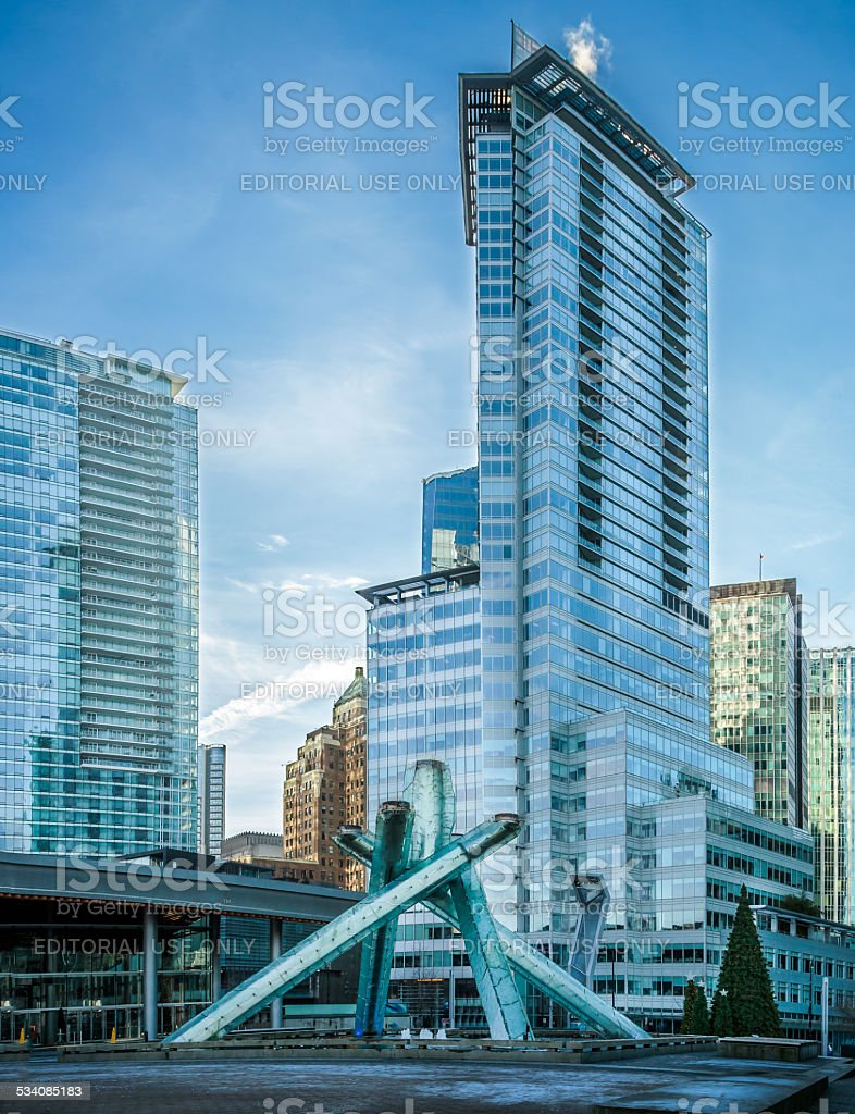 Olympic Cauldron at Jack Poole Plaza in Vancouver. stock photo