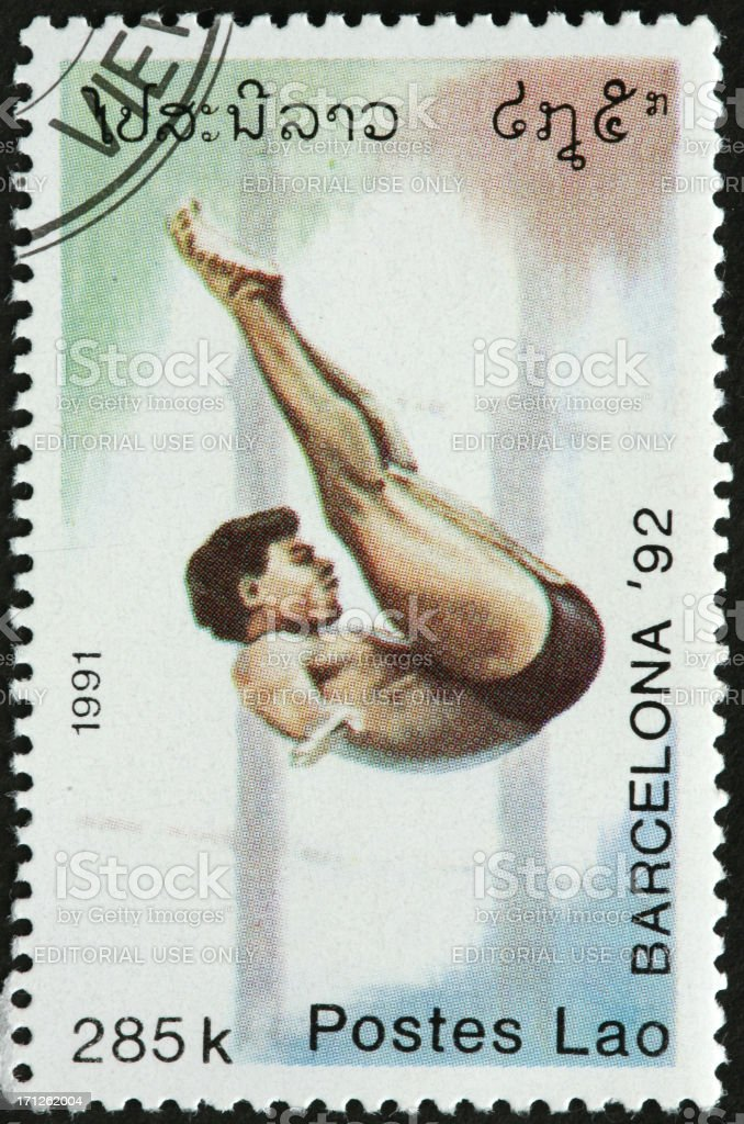 Olympic diver, 1992 Barcelona stock photo