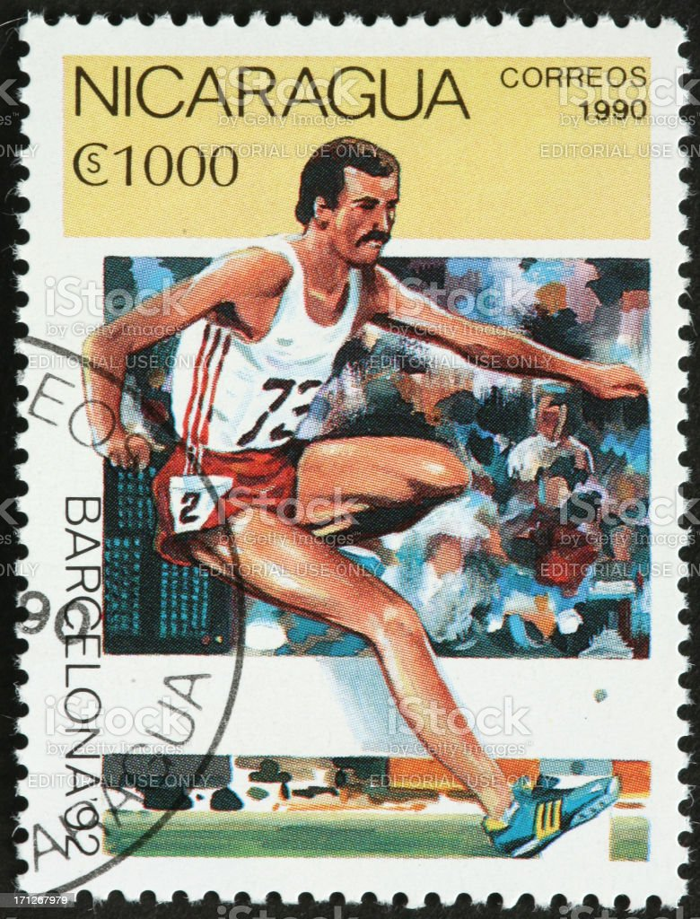 Olympic hurdler, Barcelona 1992 Games royalty-free stock photo