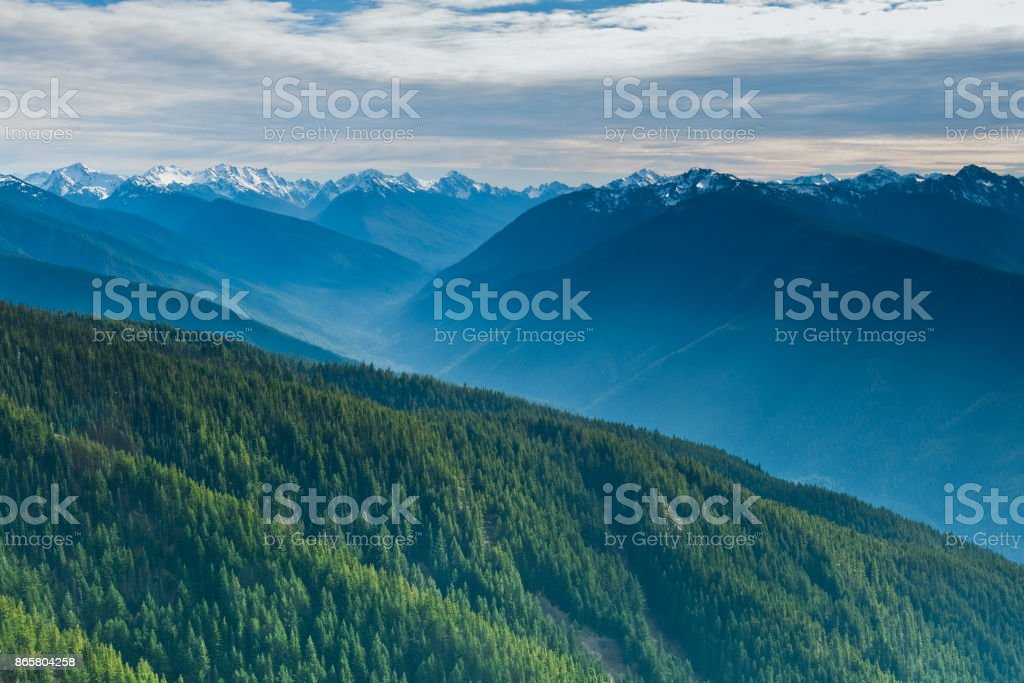 Elwha River Valley and the Olympic Range stock photo
