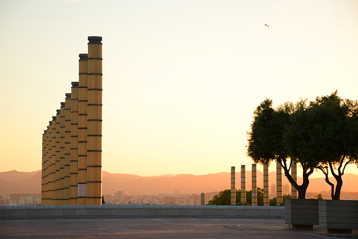 Olympic park in Barcelona at sunset