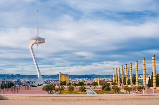 Olympic park Montjuic and telecommunications tower designed by Santiago Calatrava