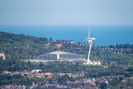 Olympic park, Palau sant jordi and telecomunications tower in Montjuic mountain. Barcelona, Spain