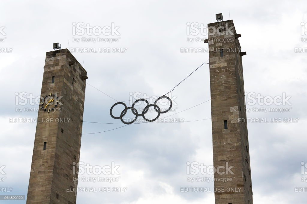 Olympic rings symbol hanging over Olympic stadium in Berlin, Germany royalty-free stock photo