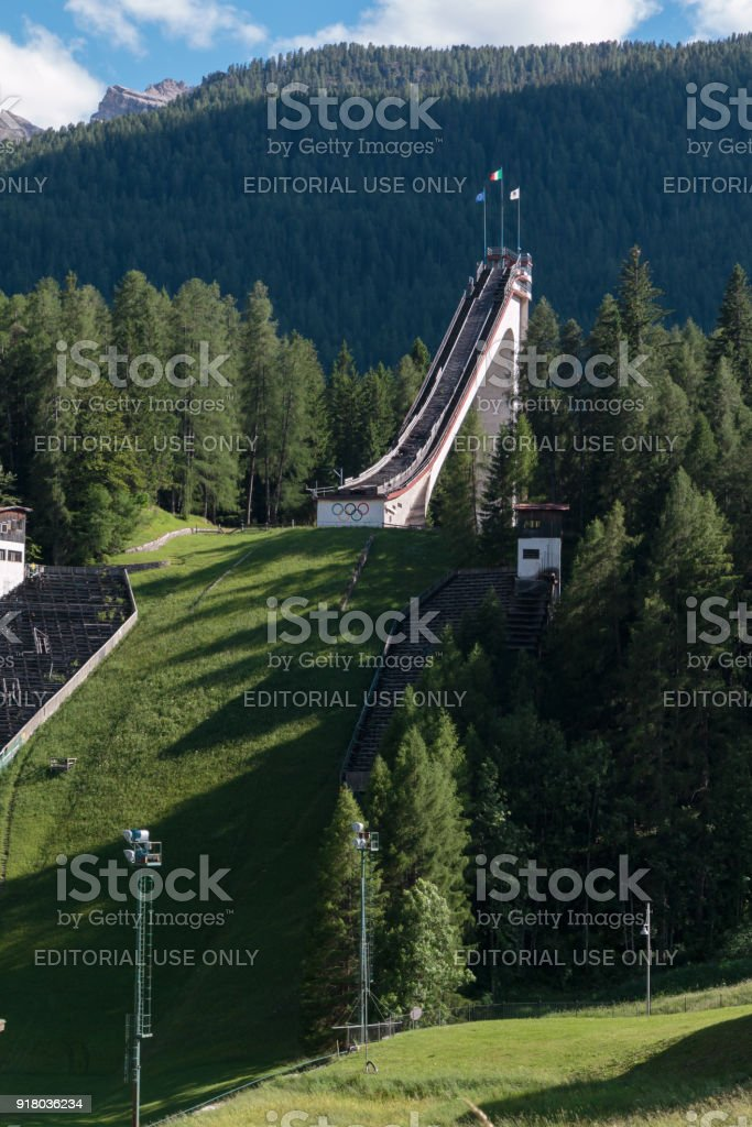 Olympic Ski Jumping Trampoline in Summer Time stock photo