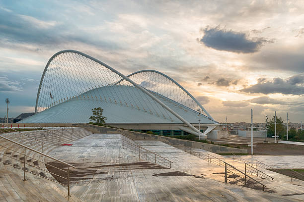 Olympic sport cycling center against a dramatic sunset. stock photo