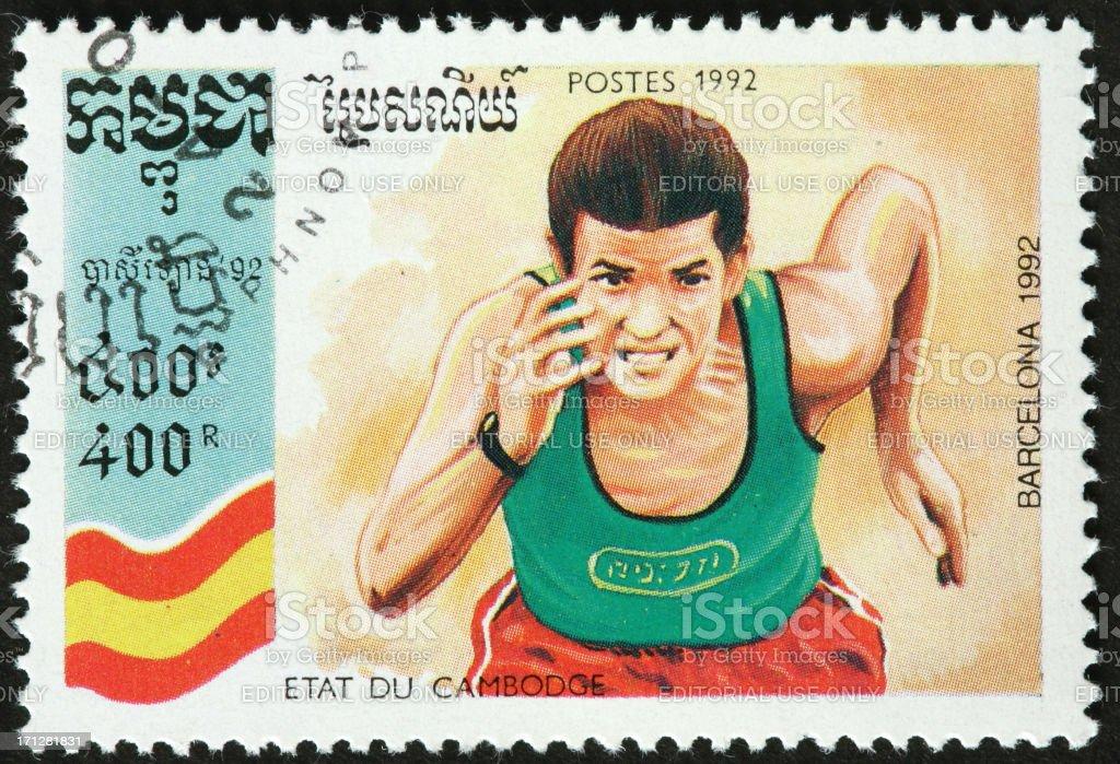 Olympic sprinter, 1992 Barcelona Games stock photo