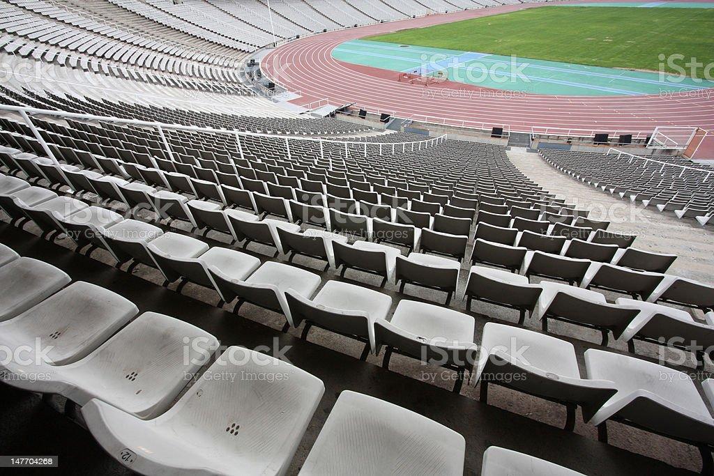 Olympic stadium of Montjuic (Barcelona) empty royalty-free stock photo