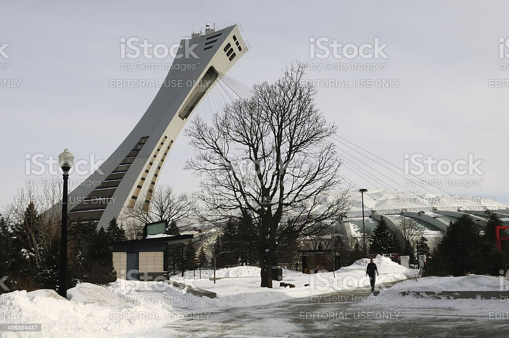 Olympic Stadium Tower in Montreal (Canada) during a frozen day royalty-free stock photo