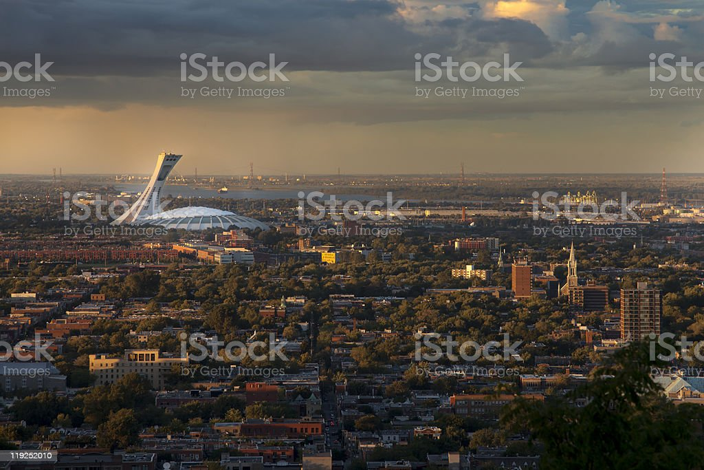Olympic Stadium, viewed from the Mont-Royal, Montreal stock photo