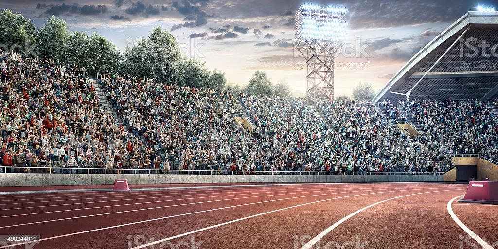Olympic stadium with running tracks stock photo