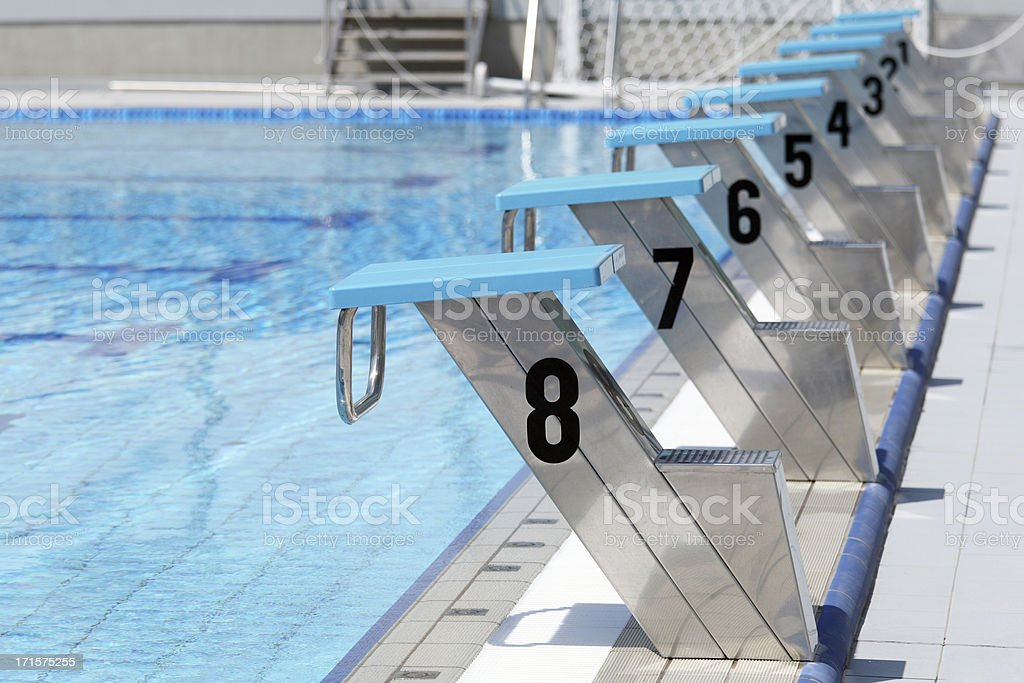 Olympic swimming pool start line stock photo