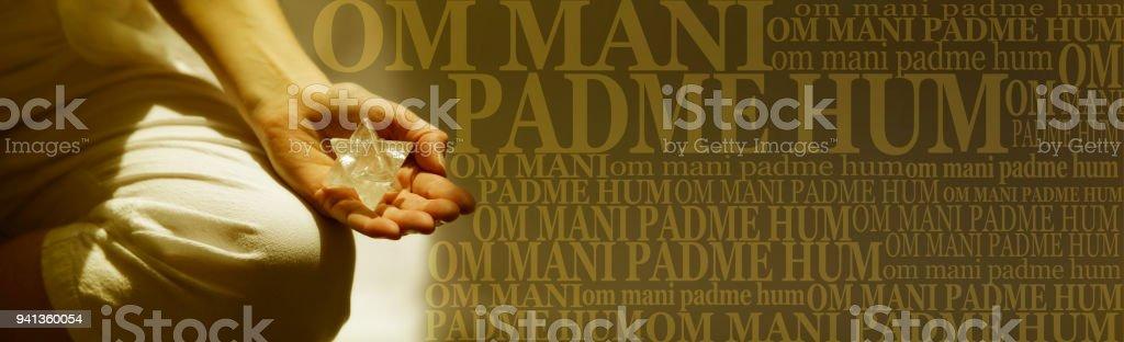 Om Mani Padme Hum Buddhism Meditation mantra Banner stock photo