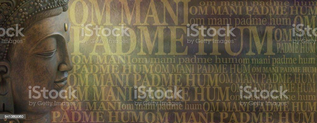 Om Mani Padme Hum Buddhist Mantra Meditation stock photo