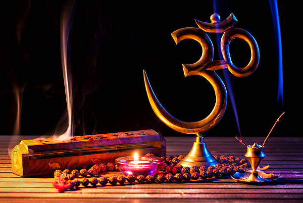 om shanti - hinduism stock photos and pictures