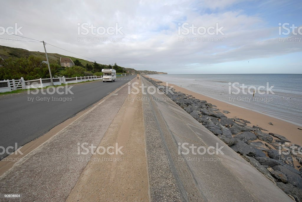 Omaha Beach and traffic road royalty-free stock photo