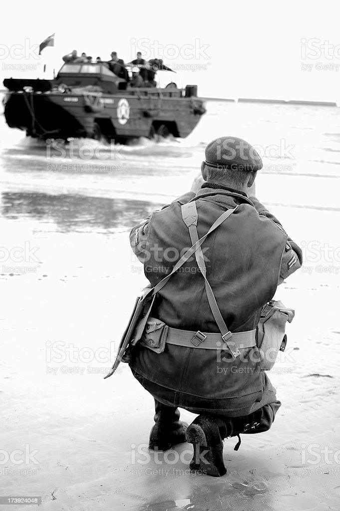 Omaha Beach DUKW. stock photo