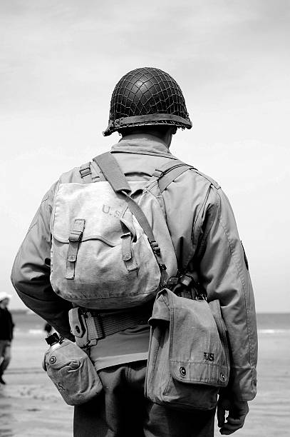 Omaha Beach Soldier.  major military rank stock pictures, royalty-free photos & images